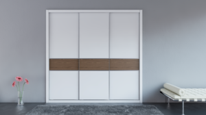 Puerta corredera con perfil aluminio y panel lacado combinado con madera.