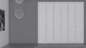 Puertas plegables correderas lacadas en blanco.