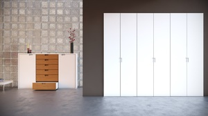 Puertas plegable corredera lacadas en blanco.